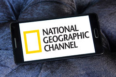National geographic channel logo. Logo of national geographic channel on samsung mobile phone a5 Stock Photography