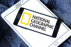 National geographic channel logo. Logo of national geographic channel on samsung mobile phone a5 on samsung tab s2 Stock Images