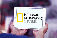 National geographic channel logo. Logo of national geographic channel on samsung tablet stock images