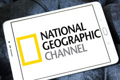 National geographic channel logo. Logo of national geographic channel on samsung tablet Stock Photography