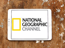 National geographic channel logo. Logo of national geographic channel on samsung tablet on wooden background Stock Photo
