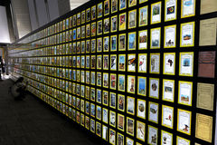National geographic. Collection of national geographic magazines with their typical yellow frame stock photos