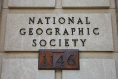 National Geographic Society Sign. Washington DC - USA Stock Photography