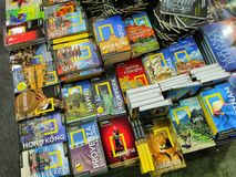 National geographic travel guidebooks on display in a book fair. Turin Italy May 9 2019 stock image