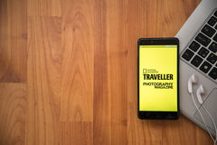 National Geographic Traveller Photography Magazine. Los Angeles, USA, april 16, 2017: National Geographic Traveller Photography Magazine application on Royalty Free Stock Photo