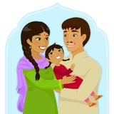 National girl child day of India. Indian family of mother and father hugging a little girl Stock Images