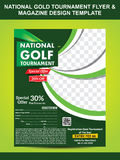 National gold golf flyer template Royalty Free Stock Photography