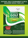 National Gold Tournament Flyer & Magazine Design Template Royalty Free Stock Image
