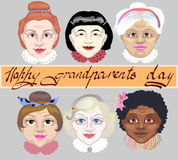 National Grandparents Day. A set of grandmothers` faces different skin colors. Vector illustration on gray background. Stock Image