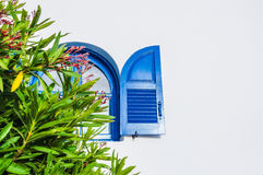 National Greek architecture, Santorini island, Greece. Blue window. National Greek architecture, Santorini island, Greece Stock Images