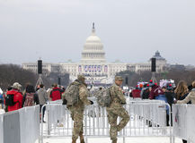 National guard men on duty during Inauguration of Donald Trump Royalty Free Stock Photography