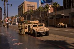 National Guard troops on the Hollywood Walk of fame