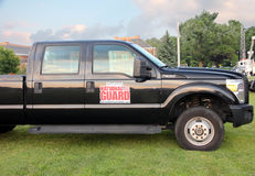 National Guard Vehicle. Pickup trucks with New Jersey National Guard Logo parking on grass during the National Night Out event in Livingston, NJ stock photography