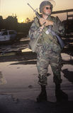 National Guardsman patrolling after 1992 riots, South Central Los Angeles, California Stock Photography