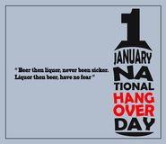 National Hangover Day. Is on the 1st of January stock illustration