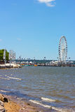 The National Harbor coastline and pier with Ferris. Stock Images