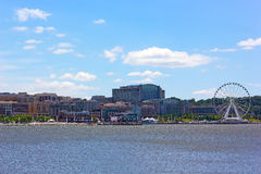 National Harbor photographed from Woodrow Wilson Bridge Stock Images