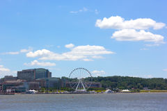 National Harbor photographed from Woodrow Wilson Memorial Bridge. Royalty Free Stock Photography
