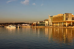 National Harbor Waterfront. The National Harbor is a waterfront development on the Potomac River near Washington, DC that caused controversy due to environmental Royalty Free Stock Photography