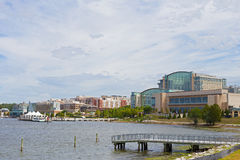 National Harbor waterfront panorama in Oxon Hill, Maryland, USA. Water transport pier services visitors coming from Washington DC Royalty Free Stock Images