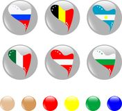 National heart flags icon shiny button Stock Photo