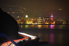 National Highway and Beppu night view Royalty Free Stock Photo