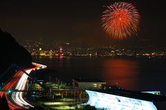 National Highway night view and Beppu fireworks Royalty Free Stock Photography