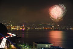 National Highway night view and Beppu fireworks Royalty Free Stock Images