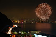 National Highway night view and Beppu fireworks Stock Photos