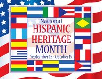 National Hispanic Heritage Month September 15 - October 15. With flags royalty free illustration