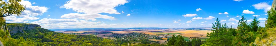 "Panoramic photograph of Madara national historical archeological reserve. The national historical-archeological reserve ""Madara"" is located 17 km northeast Royalty Free Stock Photos"