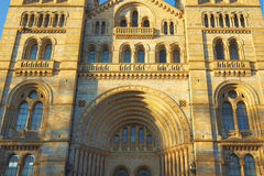 National History Museum in London, England. A facade view of the National History Museum in London, United Kingdom, taken in early spring evening Stock Image
