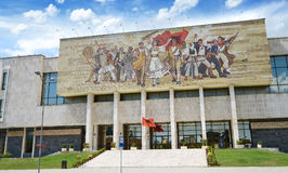 National history museum in Tirana. The facade Mosaic is depicting revolutionary figures.Tirana is capital of Albania. Stock Photo