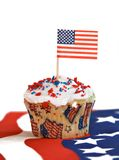 National Holiday. A red, white and blue  American flag holiday celebration cupcake Stock Images