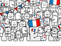 National holiday - France. Vector hand-drawn characters line vector illustration