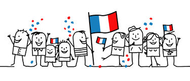 National holiday - France. Vector hand-drawn characters line royalty free illustration