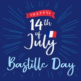Happy Bastille Day banner with inscription and national flag on beams. National holiday in France 14 of july vector greetings card. Celebrate French Republic vector illustration