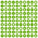 100 national holiday icons hexagon green. 100 national holiday icons set in green hexagon isolated vector illustration Royalty Free Stock Photo