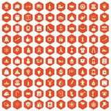 100 national holiday icons hexagon orange Stock Photography
