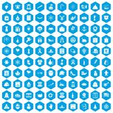 100 national holiday icons set blue. 100 national holiday icons set in blue hexagon isolated vector illustration stock illustration