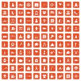 100 national holiday icons set grunge orange. 100 national holiday icons set in grunge style orange color isolated on white background vector illustration stock illustration