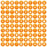 100 national holiday icons set orange. 100 national holiday icons set in orange circle isolated on white vector illustration stock illustration