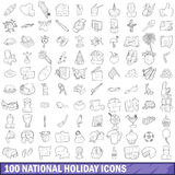100 national holiday icons set, outline style. 100 national holiday icons set in outline style for any design vector illustration royalty free illustration