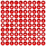 100 national holiday icons set red. 100 national holiday icons set in red circle  on white vector illustration Stock Image
