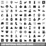 100 national holiday icons set, simple style. 100 national holiday icons set in simple style for any design vector illustration Stock Images