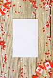 The national holiday of July 1- happy Canada day , Dominion day, the concept of patriotism, independence and memory, a place for. Text. white red confetti and stock photo