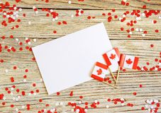 The national holiday of July 1- happy Canada day , Dominion day, the concept of patriotism, independence and memory, a place for. Text. white red confetti and stock photos