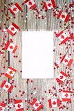 The national holiday of July 1- happy Canada day , Dominion day, the concept of patriotism, independence and memory, a place for. Text. white red confetti and stock photography
