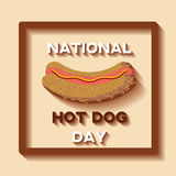 National Hot Dog Day background template. With cartoon style hot dog, brown frame and text. Vector illustration Stock Images