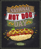 National hot dog day chalkboard poster Stock Image